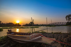 The boat river side sunset time. At Nahkon Pathom Thailand Stock Photo