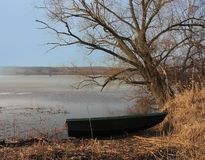 Boat on the river, spring landscape Royalty Free Stock Photography
