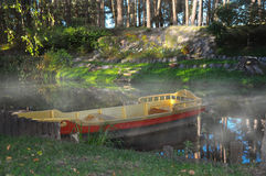 Boat on the river in a sunlight at a gaze Stock Photo