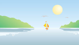 Boat on the River at Sunset. A  illustration of a boat on the river and hills at sunset Royalty Free Stock Images