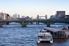 A boat in the river Thames Royalty Free Stock Images