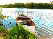 Boat on the river Tsna. Ryazan region, Russia Royalty Free Stock Images