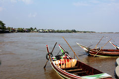 Boat on the river. View of river side in Myanmar Royalty Free Stock Photography