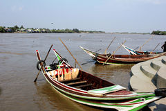 Boat on the river. View of river side in Myanmar Stock Image