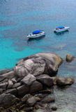 Boat Sea Rock. Spectacular scene from Similan Islands no.8 with combination of speed boat rock and clear sea water Stock Photography
