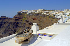 Old boat on the roof,Thira,Santorini  Royalty Free Stock Photos