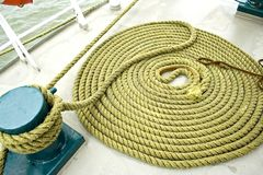 Boat rope. Still life at boat deck stock photography
