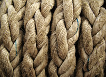 Boat rope closeup. Nautical background. Close-up of an old frayed boat rope as a nautical background Royalty Free Stock Photo