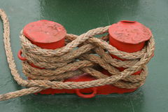Boat rope fixed royalty free stock photography