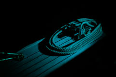 Boat rope in the night Royalty Free Stock Photos
