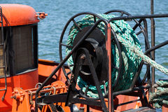 Boat rope winch Royalty Free Stock Image
