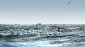Boat in Rough Seas - Heading to Port stock video footage