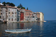 Boat and Rovinj Stock Photography