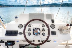 Boat rudder and pannel Royalty Free Stock Photo