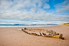 Boat's wreck on the beach in Ireland Stock Photos