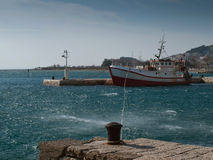 Boat in safe harbor royalty free stock photography