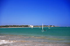 Boat with sail in caribbean sea. Dominican Republic Stock Image