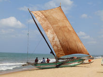 Boat with sail on the ocean, Sri Lanka. Boat with sail on the ocean Royalty Free Stock Photo
