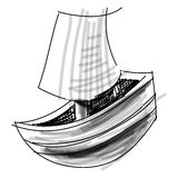 Boat with sail sketch vector illustration Stock Photography
