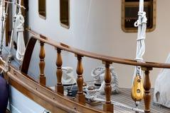 Boat sailing. Detail of the railing of a boat sailing Stock Image