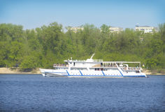 Boat sailing along the Dnieper River Royalty Free Stock Image