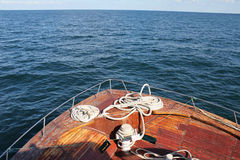 Boat sailing in the Black Sea - detail 2. Boat sailing in the Black Sea Constanta Romania Royalty Free Stock Image