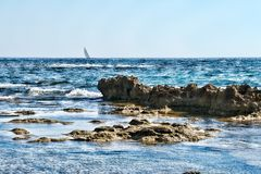 Boat sailing in blue sea Royalty Free Stock Image