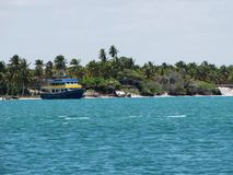 Boat sailing in the calm waters of Maceió, Brazil, with palm trees in the background. Boat sailing in the calm waters of Maceió, Brazil stock photography