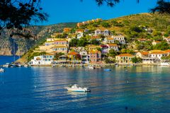 Panoramic view of Assos village in Kefalonia, Greece stock images