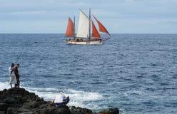 Boat sailing on the coast of Saint Paul on La Reunion Stock Image