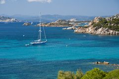 Boat sailing face Budelli island Stock Photography