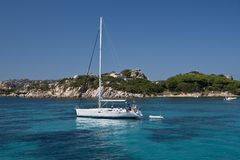 Boat sailing face Santa Maria Island Stock Image