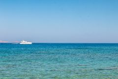 Free Boat Sailing Far At The Open Sea. Yacht At Sea. Luxury Summer Adventure, Active Vacation In Mediterranean Stock Photo - 159270480