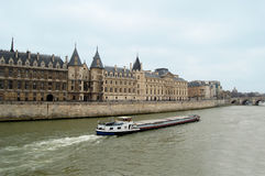 Boat Sailing In Paris Royalty Free Stock Photography