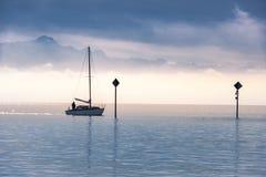 Boat sailing on a lake Royalty Free Stock Photo