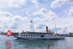 Boat sailing in the leman lake in Geneva swtzerland Stock Photo