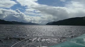 Boat Sailing on Lochness Scotland stock footage