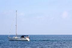 Boat sailing in the Mediterranean. Sailing boat in the Mediterranean Sea, with copy space Royalty Free Stock Photos
