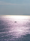 Boat sailing on the Mediterranean Sea. Royalty Free Stock Image