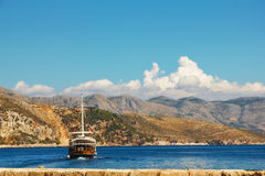 Boat sailing near Lokrum island. Croatia Royalty Free Stock Images
