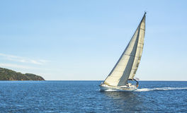Boat in sailing regatta on Aegean Sea. Nature. Royalty Free Stock Photos