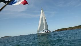 Boat in sailing regatta. Luxury. stock footage
