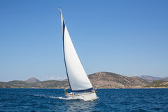 Boat in sailing regatta. Luxury yachts. Royalty Free Stock Photos