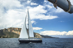Boat in sailing regatta. Luxury yachts at the Sea. Sport. Royalty Free Stock Image