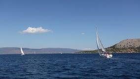 Boat in sailing regatta. Luxury yachts. Sport. stock video
