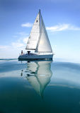 Boat in sailing regatta. Sailing yacht on the water royalty free stock photography