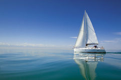 Boat in sailing regatta.  Sailing yacht on the water Stock Image