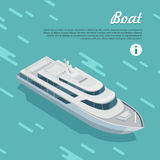 Boat Sailing in Sea. Cruise Liner Passenger Ship. Boat sailing in sea. Boat watercraft designed to float, plane, work or travel on water. White cruise boat icon Stock Photos