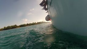 Boat sailing in the sea stock video