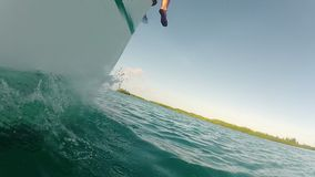 Boat sailing in the sea stock video footage
